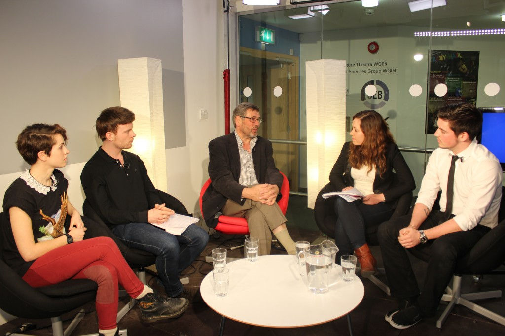 Joanna Poulton (left), Jack Aspinall, Elina Kuusio and Alan Andrews (right) grilled Bob Ainsworth MP (centre) on European elections, the economy and Ukraine amongst other topics.