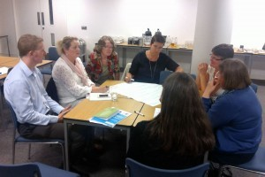 One of two team discussing how best to disseminate the Quality Assurance Framework for Biosciences Education in Nursing