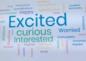 Word cloud to depict series of emotions re online learning