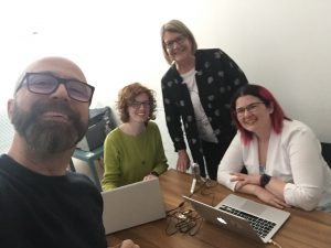 The podcast team hard at work! From L-R: Prof. Enrico Ciavolino, PhD candidate, Paola Pascoe, Prof. Debbie Holley and Dr. Ann Luce