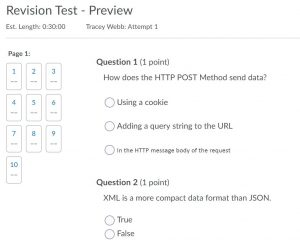 Quiz preview screen