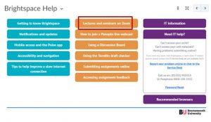 Brightspace student Help menu