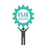 FLIE logo as cog with person holding