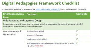 Digital Pedagogies Framework checklist