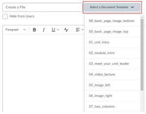 Selecting HTML Templates
