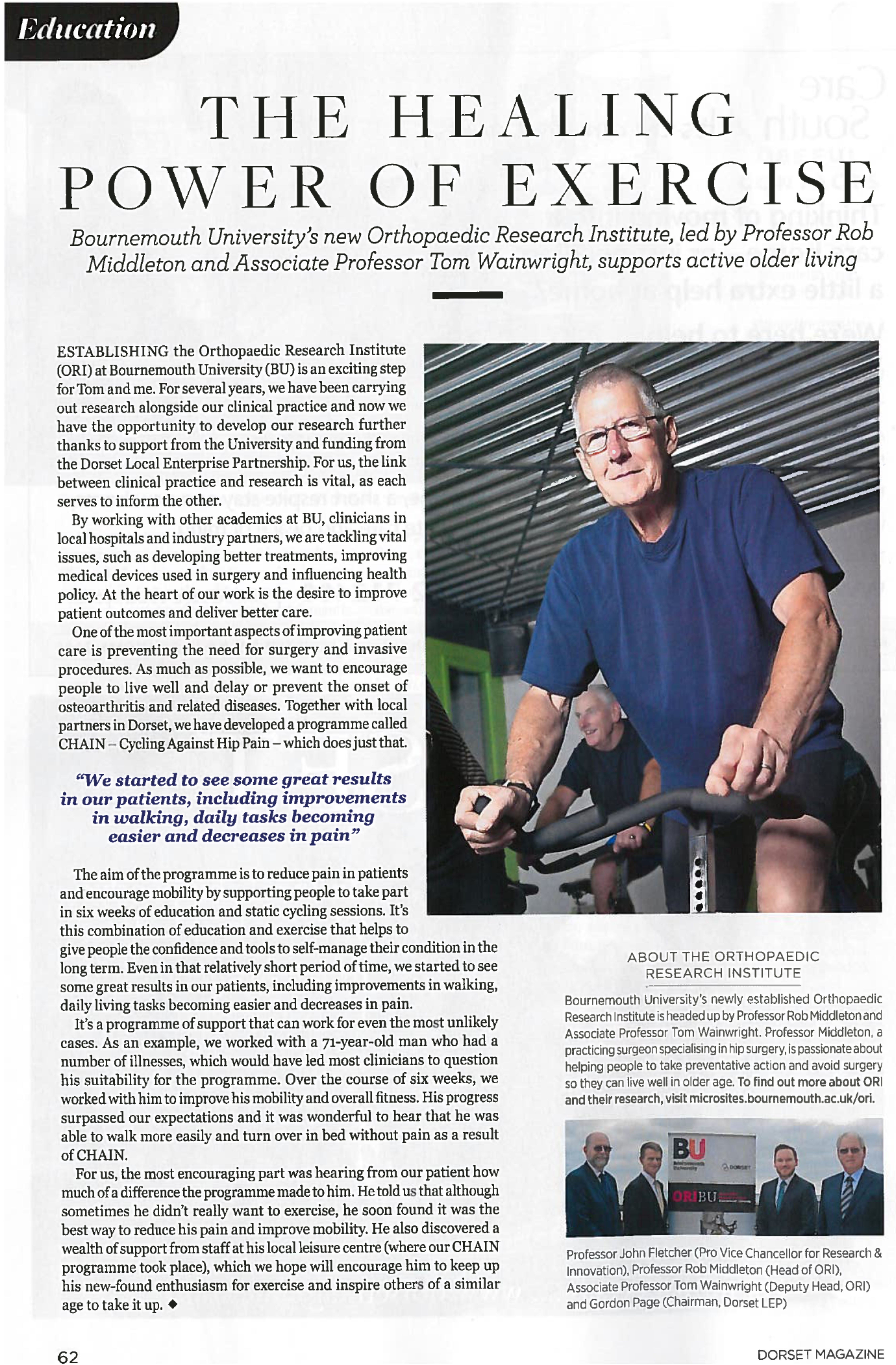 Bournemouth university's new Orthopaedic Research Institute, led by Professor Robert Middleton and Associate Professor Tom Wainwright, supports active older living