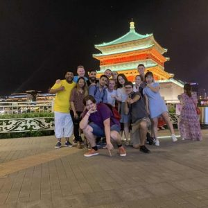 Group picture outside Chinese pagoda