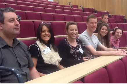 Dr Ian Jones, Dr Joanne Mayoh, Amber Madkour, Adam Doherty, Rachel Luff and Katie Azulay at BCUR in Nottingham.